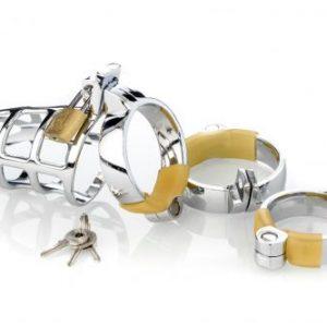 Metall Peniskäfig (Cockcage) mit 3 Penisringen (Ø 40, 45 und 50 mm), inkl.Schloß und Schlüssel, Keuschheit für den Mann in Gitter Optik