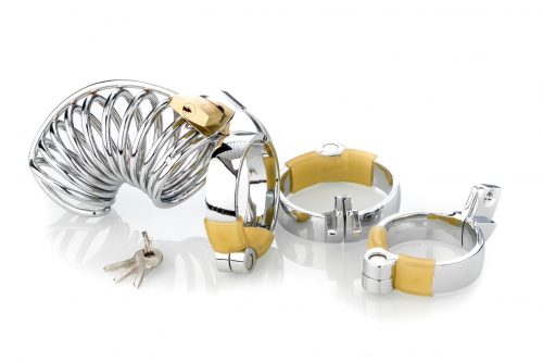 Metall Peniskäfig (Cockcage) mit 3 Penisringen, Keuschheit für den Mann in Ring Optik