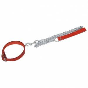"Leder Halsband ""Passion"" mit Ring der O. S/M (Breit: 3,5cm, Lang: 43cm) Inkl. Führungskette (60cm) mit Karabiner rot"