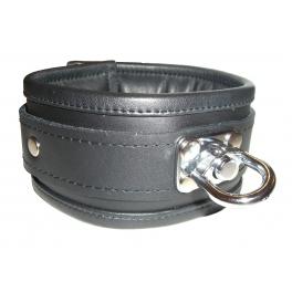 Gepolstertes Leder Halsband mit Wirbel 100% Nappaleder S/M (Breit: 6,5cm Lang: Kissen 38cm Riemen 50cm) schwarz