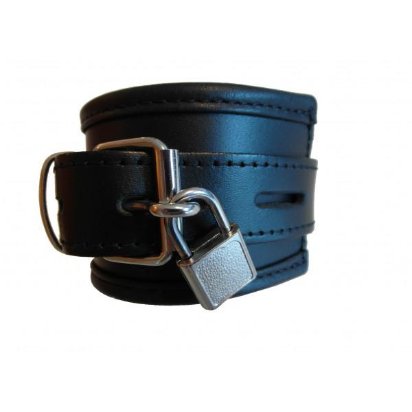 Leder Handfesseln gepolstert und abschließbar (Breit: ca.6,5cm Lang Kissen ca.26cm) inkl. 2 Schlösser schwarz / 1Paar