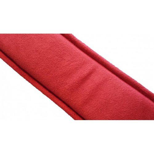 Leder Halsband innen mit rotem Wildlederimitat L/XL (Breit: 6,5cm Lang: Kissen 44cm Riemen 59cm) rot/schwarz