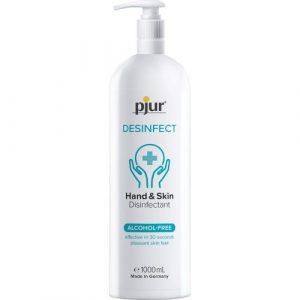 pjur DESINFECT - Desinfektionsmittel für Hände & Haut zur hygienischen Reinigung - Frei von Alkohol & Parfüm 1000ml