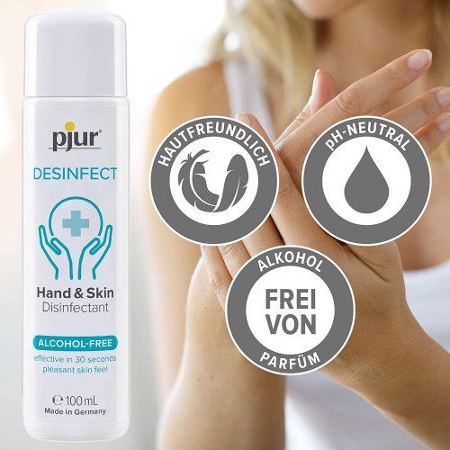 pjur DESINFECT - Desinfektionsmittel für Hände & Haut zur hygienischen Reinigung - Frei von Alkohol & Parfüm 100ml