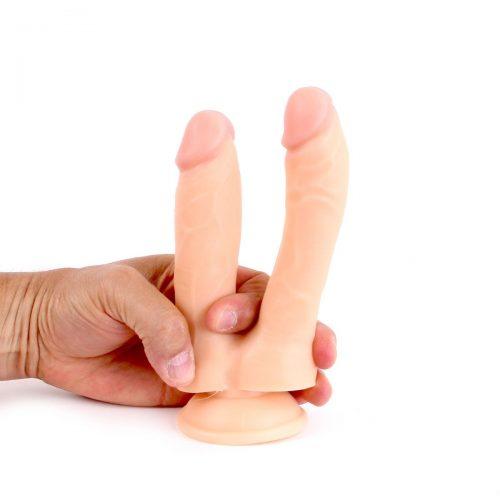 Realistic Flesh Doppel Dildo No.030 (19,0x3,0-3,5cm) mit Saugfuß
